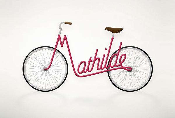 Designer cria bicicleta em forma de nomes