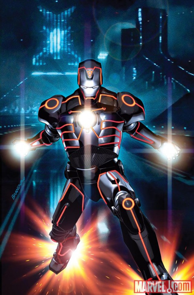 Fantástico mashup de personagens da MARVEL e TRON