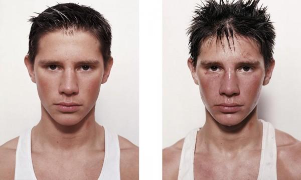 Projeto fotográfico: Boxeadores antes e depois de uma luta