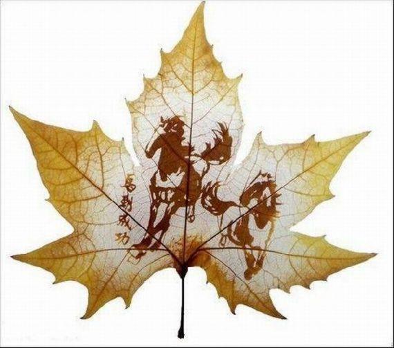 As belas esculturas em folhas de bordo