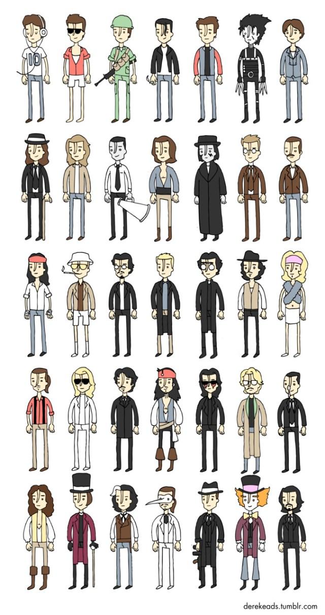 Todos os personagens de Johnny Depp em uma única imagem