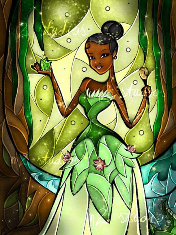 Vitrais ilustrados de personagens da Disney