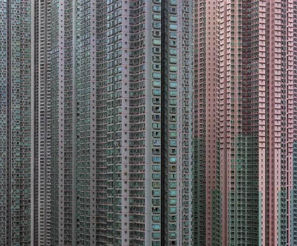 As fachadas dos enormes condomínios de Hong Kong