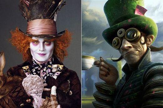 Desenhos conceituais de personagens famosos do cinema