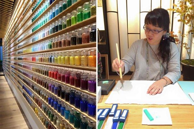 Belíssima loja japonesa de artigos de pintura exibe 4200 pigmentos em suas prateleiras
