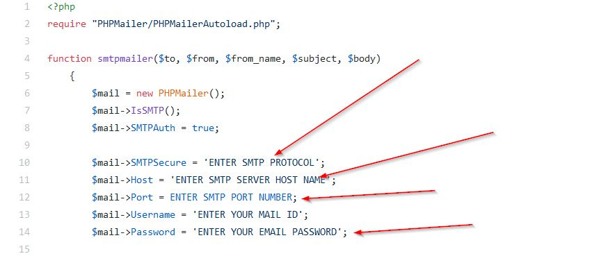 Setup PHPMailer SMTP credentials