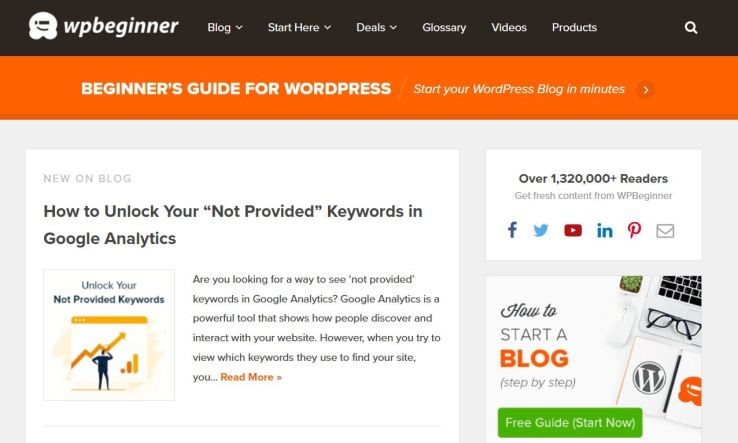 website technology tools used to build wpbeginner blog