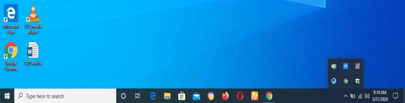 Shortcuts on the taskbar