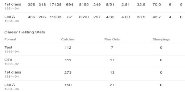 Steve Waugh Stats