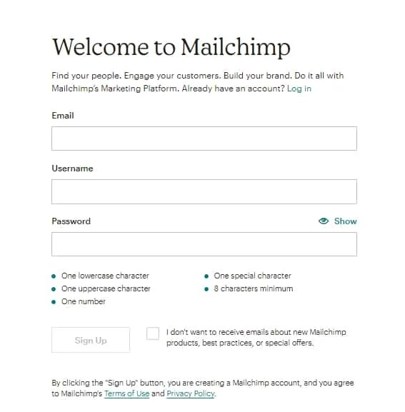 Create an Account on MailChimp