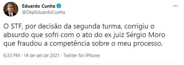 Após a decisão, Cunha celebrou. Mais um.