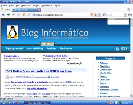 Opera 9, navegando en Bloginformatico.com