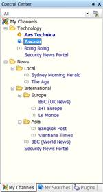Awasu, organización de canales RSS