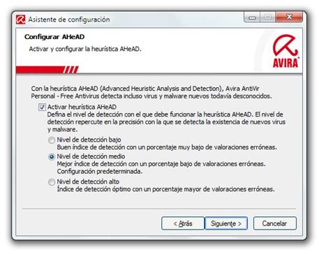 Avira AntiVir - Configuración - Nivel de detección