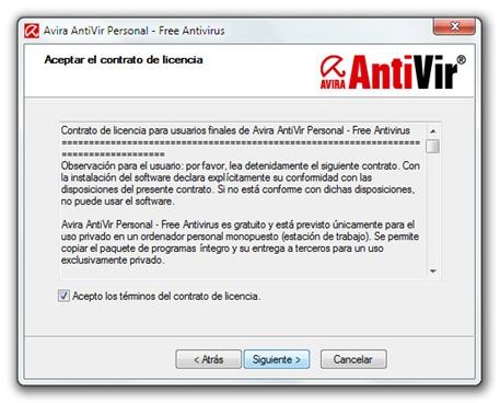 Avira AntiVir - Instalación - Contrato de licencia