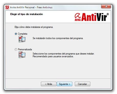 Avira AntiVir - Instalación - Elegir tipo de instalación