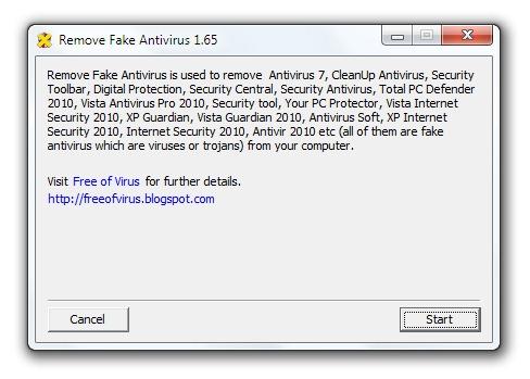 Eliminar falsos antivirus con Remove Fake Antivirus
