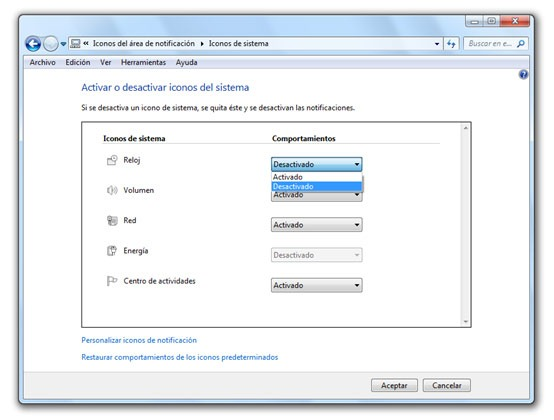 Desactivar reloj de Windows 7