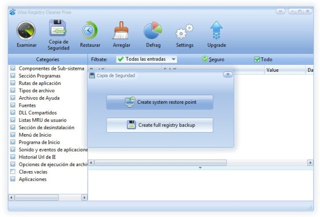 Wise Registry Cleaner - Backup al registro