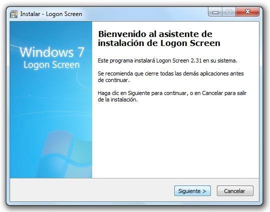 Logon Screen - Inicio de instalación
