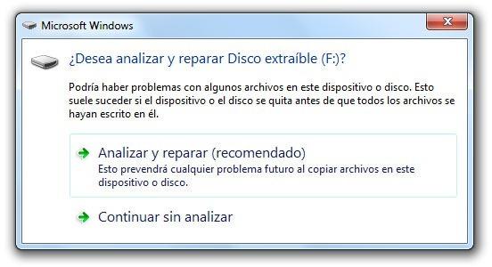 Desea analizar y reparar Disco extraíble