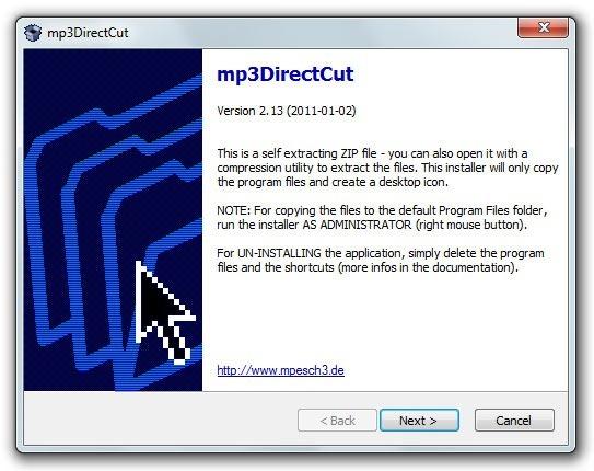 mp3DirectCut - Proceso de instalación 1