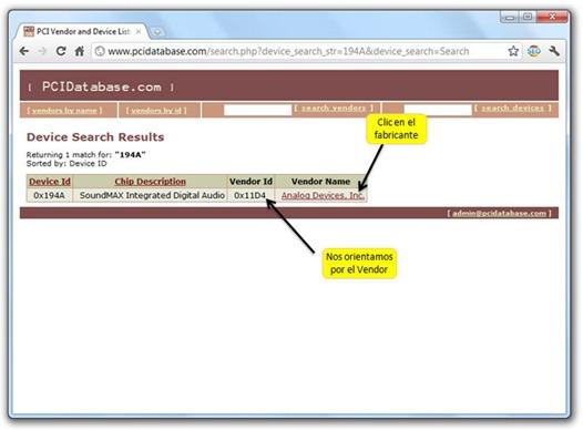 Base de datos PCIDatabase - Resultados