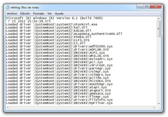 Arranque de Windows - ntbtlog