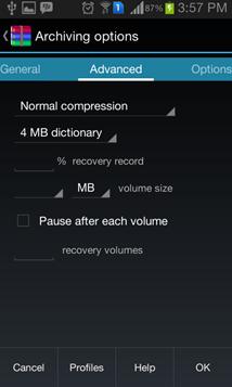 Opciones de compresión 2 - RAR for Android