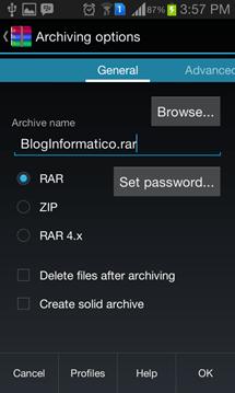 Opciones de compresión - RAR for Android