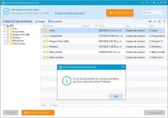 Escaneo EaseUS Data Recovery Wizard Free