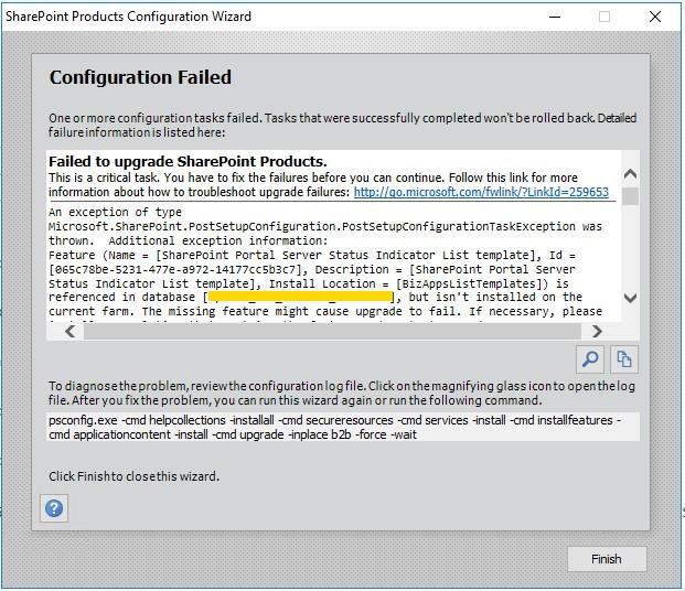 """SharePoint 2016 Upgrade: How to solve the """"Feature is"""
