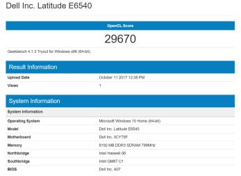 Geekbench 4 - Open CL - AMD Radeon HD 8790M Benchmark