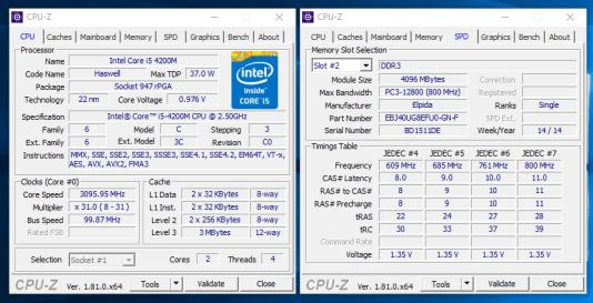 Dell Latitude E6440 - CPU Z