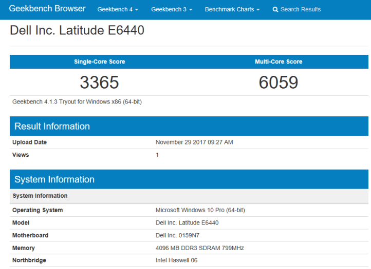 Dell Latitude E6440 - geekbench