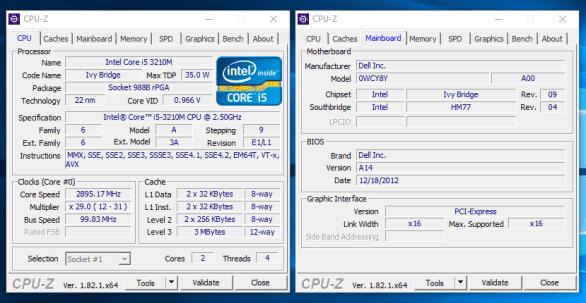 Dell Vostro 3460 - CPU-Z