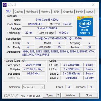 HP Elitebook 840 G1 - CPU-Z