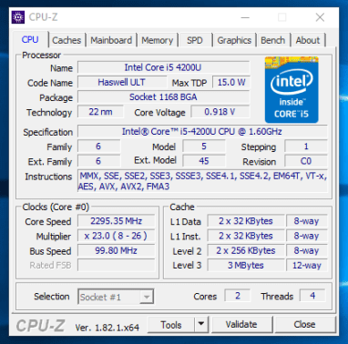 Dell Latitude E7240 - CPU-Z