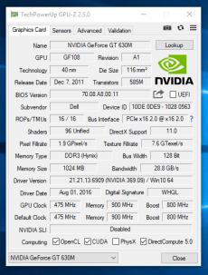 Dell Vostro 3460 - GPU-Z grafica dedicata
