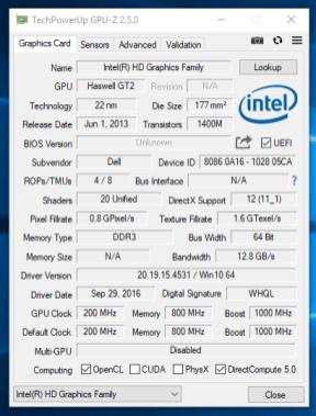 Dell Latitude E7240 - GPU-Z