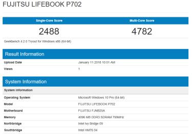 Fujitsu LIFEBOOK P702 - Geekbench CPU