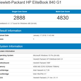 HP Elitebook 840 G1 - Geekbench CPU