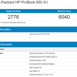 HP Probook 650 G1 - GeekBench CPU