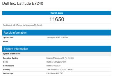 Dell Latitude E7240 - GeekBench OpenCL