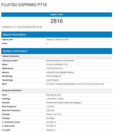 Fujitsu Esprimo P710 - GeekBench OpenCL