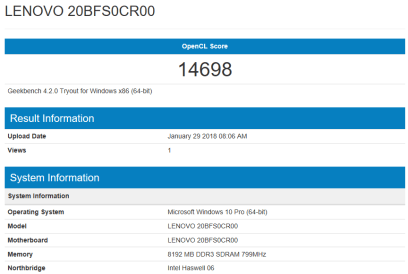Lenovo ThinkPad T540 - GeekBench CPU