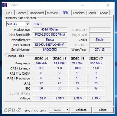 HP EliteBook 2170p - CPU-Z RAM