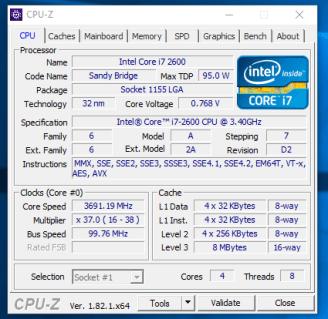 Lenovo ThinkCentre M82 - CPU-Z procesor