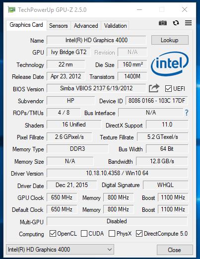 HP EliteBook 2570p - GPU-Z