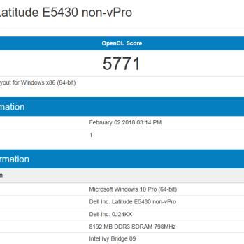 Dell Latitude E5430 - Geekbench OpenCL